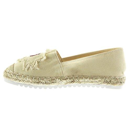2 Suola di Tacco Piatto Beige Angkorly Tacco Donna Scarpe Mocassini on 5 Fantasia Espadrillas Slip Ricamo Corda Sneaker Moda cm xYgYAnFa
