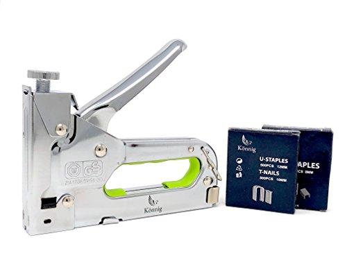 Könnig Heavy Duty Staple Gun 3 in 1, Hand Operated Stainless Steel Stapler, Brad Nailer, Tacker Tool w/BONUS 2000 ()
