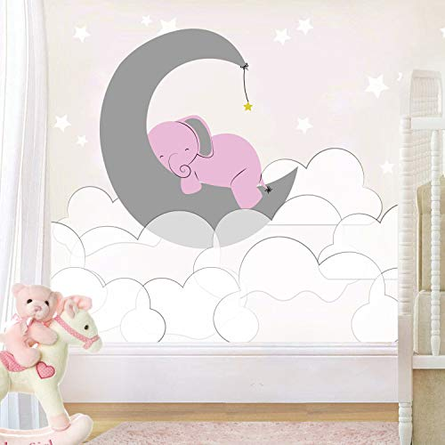 e-Graphic Design Inc Elephant Moon Clouds and Stars - Baby Girl - Nursery Wall Decal for Baby ROM Decorations - Mural Wall Decal Sticker for Home Children's Bedroom (J236) (Wide ()