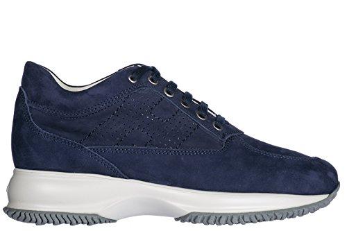 Hogan Scarpe Da Donna Scarpe Da Ginnastica Signore Suede Shoes Sneakers Blu Interattivo