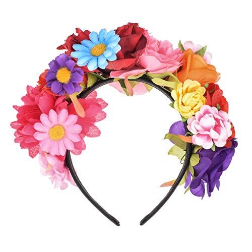 DreamLily Frida Kahlo Mexican Flower Crown Headband Party Costume Dia de Los Muertos Day of The Dead Headpiece NC12 (Multicoloured)
