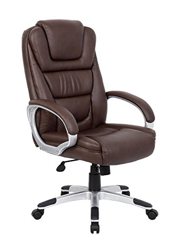 Boss Office Products B8601-BB High Back No Tools Required LeatherPlus Chair in Bomber (High Back Brown Bomber)