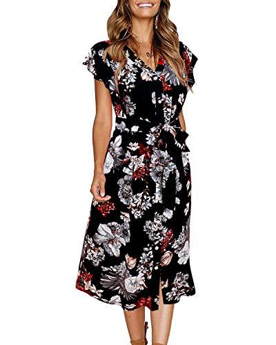 - GIKING Black Dresses,Ruffle Trim Sleeve Summer Beach A Line Swing Midi Dress Black XL