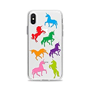 Clear Phone Case with Rainbow Unicorns fits Apple iPhone 11 Pro Max Xr Xs X 10s 10r 10 8 Plus 7 6s 6 Se 5s 5 Transparent Rubber
