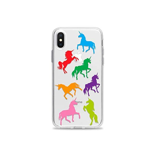 Clear Phone Case with Rainbow Unicorns fits Apple iPhone 11 Pro Max Xr Xs X 10s 10r 10 8 Plus 7 6s 6 Se 5s 5 Transparent… 3