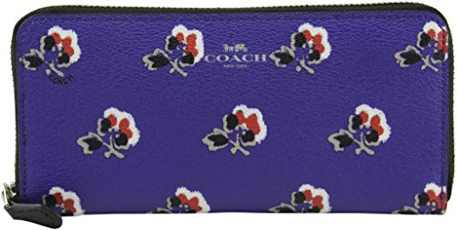 Coach Women's Slim Accordion Zip In Bramble Rose Print Canvas Wallet, Style F56732