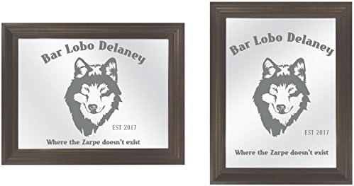 Pegatinas de vinilo para puerta corredera de cristal, diseño de lobo con texto en inglés