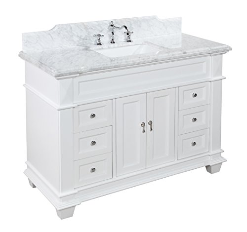 Elizabeth 48-inch Bathroom Vanity (Carrara/White): Includes White Cabinet with Soft Close Drawers & Self Closing Doors, Authentic Italian Carrara Marble Top, and Rectangular Ceramic Sink