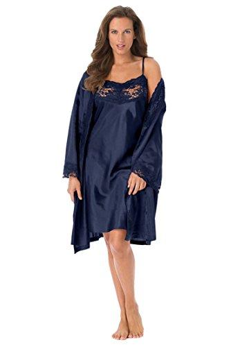 Amoureuse Women's Plus Size Short Satin Peignoir Set Evening Blue,5X