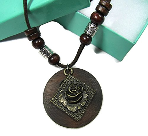 The Reliquary Walnut Carved Wood Necklace w/Soft Adjustable Cord 32