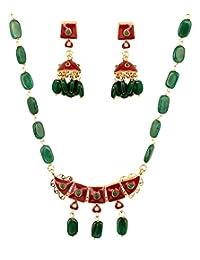 Indian Mughal Jaipur Meenakari Enamel Onyx Beads Designer Jewelry Necklace neckpiece Choker Chain for Women Set in Gold Tone for Women|Indian Terracota Jewellery