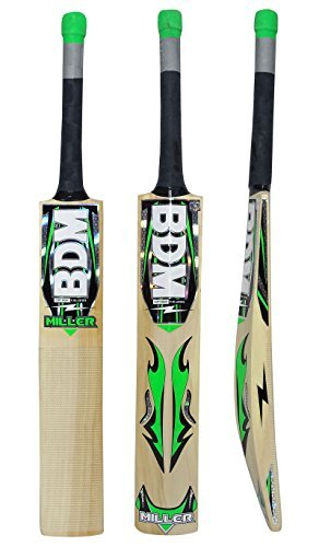 Miller BDM Kashmir Willow Wood Cricket Bat With Carry Case Adult Sizes Short Handle - Choose Weight ()