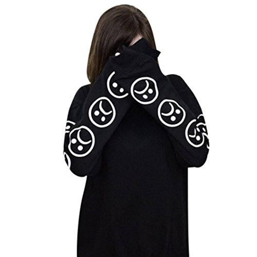 Gillberry Women Sad Faces Emoticon Long Sleeves Printed Sweatshirt Blouse Tops (L, - Eyewear Boots