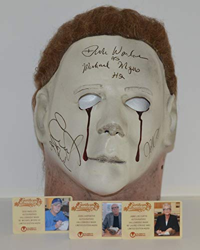 Michael Myers 'BLOOD TEARS' Mask from Halloween 2 - Adult Mask signed by Creator/Director JOHN CARPENTER, Michael Myers/The Shape DICK WARLOCK and actress JAMIE LEE CURTIS (CELEBRITY -