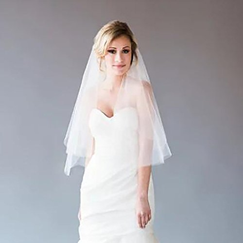 2 Tier Wedding Veil with Comb White Ivory Short Cut Edge Elbow Length (Ivory) by MISSVEIL (Image #2)