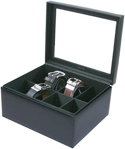 TS6202BLK 8 Belt Box Organizer Black Leather XL Compartments