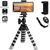 Phone Tripod, PEYOU Upgraded [3 in 1] Flexible Tripod Stand with Unversal Phone Mount Holder Bluetooth Remote Shutter and 2 Adapters for GoPro, Portable Camera Tripod Compatible for iPhone Samsung and All Smartphones Up to 6.5 Inch