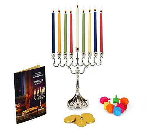 Judaica Hanukkah Menorah Lights Candle Holder Set by Holiday Grabs|9 Branch Candelabra Base Centerpiece w/ Jewish Memorial Candles & Spinning Dreidels|Includes Chanukah Chocolates, Blessings & (Family Menorah)