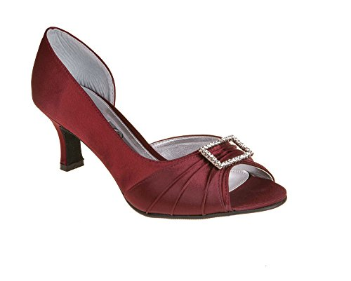 Diamante Ladies with Burgundy Fitting Trim Shoe LEXUS Comfort 'D' PdYwqwz