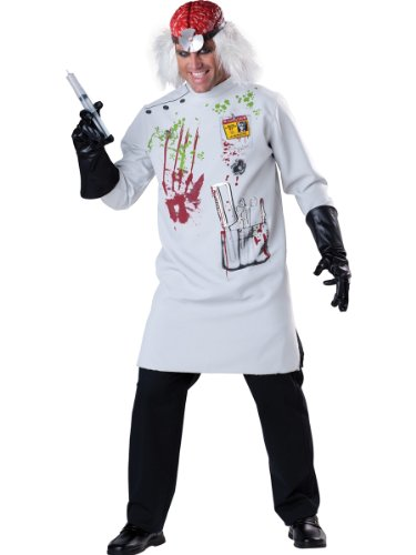 InCharacter Costumes Men's Mad Scientist Costume White/Red/Black, X-Large (Mad Doctor Halloween Costume)