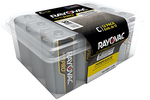 Rayovac UltraPro Alkaline C Batteries, 12-Pack with Recloseable Lid (ALC-12)