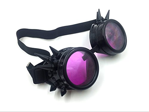 New Sell Vintage Steampunk Goggles Glasses (Black and purple - Goggles Steampunk Purple