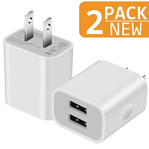 (Charger, 2.1A/5V Universal Dual Port USB Plug Wall Charger Plug Power Adapter Fast Charging Cube (White) 2-Pack)