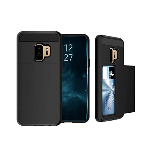 Price comparison product image MChoice For Samsung Galaxy S9 Plus 6.2inch Card Wallet Slot Hybrid Hard Slim Phone Case Cover (Black)