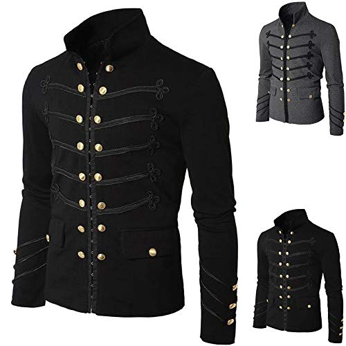 Men's Embroidered Button Coat - AmyDong Casual Solid Jacket - Gothic Uniform Costume Praty Outwear Shirt Black ()