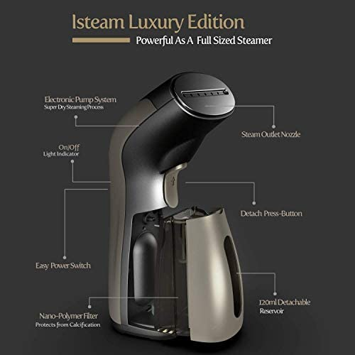 iSteam Steamer for Clothes [Luxury Edition] Powerful Dry Steam. Multi-Task: Fabric Wrinkle Remover- Clean- Refresh. Handheld Clothing Accessory. for All Kind of Garments. Home/Travel [MS208 Gold] 3