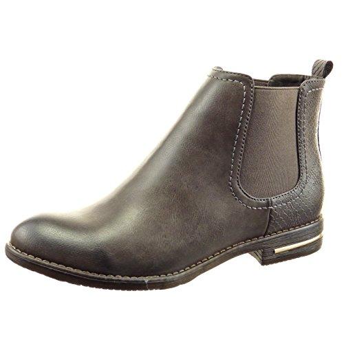 Sopily - Scarpe da Moda Stivaletti - Scarponcini chelsea boots donna pelle di serpente metallico Tacco a blocco 2.5 CM - Grigio