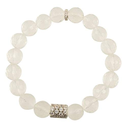 Faceted Focal Bead - Genuine Clear Faceted Crystal Quartz Gemstone Stretch Bracelet with CZ Focal Bead