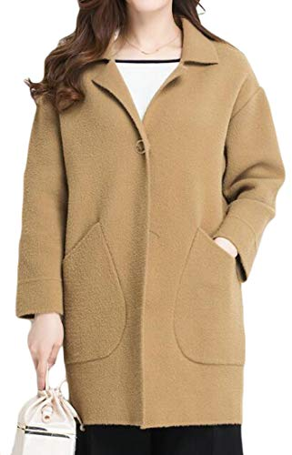 Cromoncent Women's Plus Size Stretch Warm Lapel Winter Business Peacoats Khaki One Size by Cromoncent