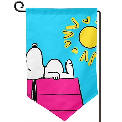 CFECUP Home Decorative Double Sided Outdoor Flag Sunny Day Snoopy Welcome Garden Flag Yard Decorations 12.5 X 18 Inches