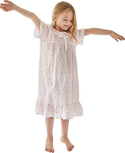 Orcite Girls Princess Nightgown Pajama Dress Lace Skirt Sleepwear PJS Size 2-13 Years Short Sleeve Cotton Bijou Size Medium(53-58inch/ 33 Hips) -