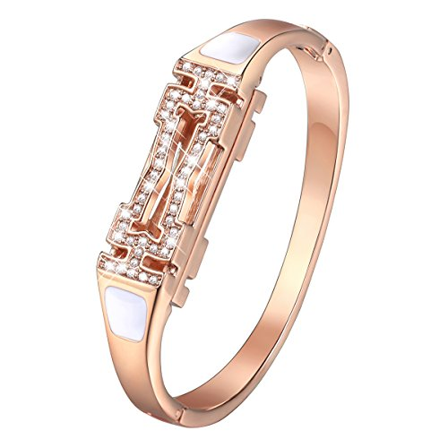 Gold Necklace Bracelet (bayite Metal Bands for Fitbit Flex 2 Accessory Stainless Steel Bangle Bracelet Metal Bands with Rhinestones Jewelry Rose Gold Small 5.5''-6.3'')