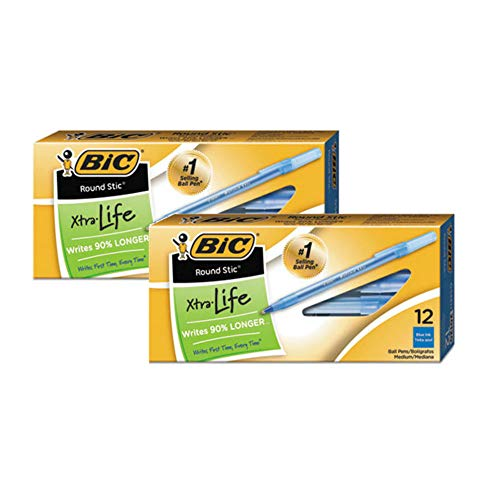 BIC Round Stic Ball Pen, Fine Point, 0.8 mm, Blue Ink, Pack of 24 (GSF11BE)