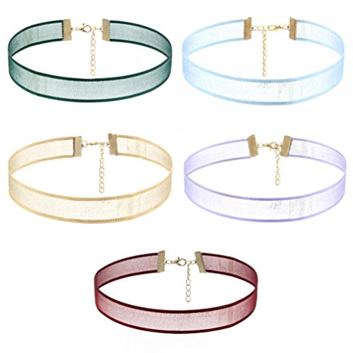 iLH® Clearance Deals 5Pcs Lace Choker Set Women Girl Classic Gothic Tattoo Necklaces Stretch Velvet Lace Choker by ZYooh
