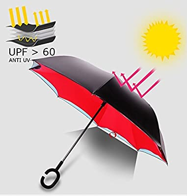 HeeBin Fashion Straight Rod Double Layer Inverted Umbrella With C-Shaped Hands Free Handle