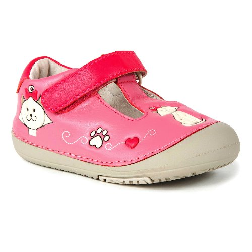 Momo Baby First Walker/Toddler Kitty Cat Pink T-Strap Leather Shoes - 6 M US Toddler