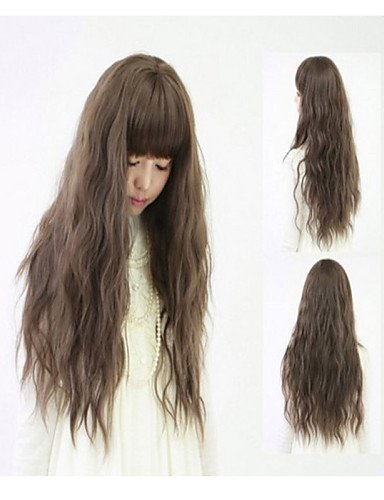 Convenient and simple pretty Shocking New Ultra low-Cost European And American Fashion Hot Long Hair Fluffy Wig (Shocking Pink Anime)