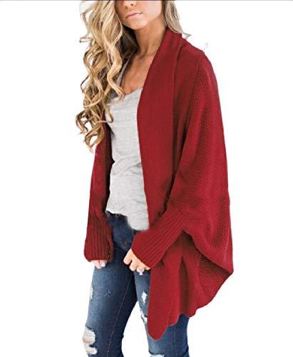 Allentata Rosso Outwear Xinheo Casuale Open size front Maglia Di Plus Donne vx0B4wqX4