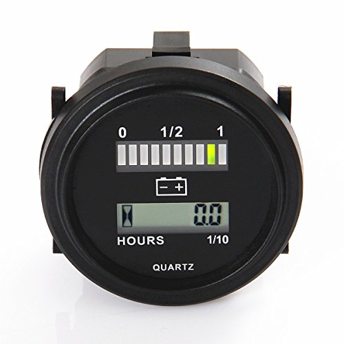 Searon LED 12V 24V 36V 48V 72V Digital Battery Indicator Status Charge Indicator with Hour Meter Gauge (Digital Golf Cart Battery Meter compare prices)