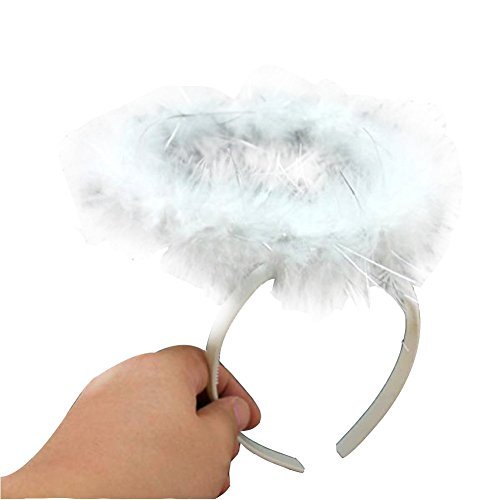 Topshop Feather Angel Halo Headband Fancy Xmas Party Dress Headwear Costume (White)