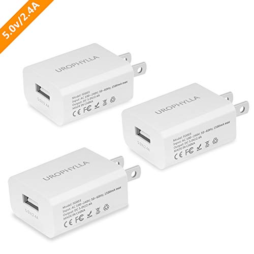UROPHYLLA Wall Charger, USB Wall Charger, 12W 2.4A Mini Portable USB Wall Charger iPhone X 8 7 6S/Plus 5S/5, Samsung Galaxy S8 7 Edge, LG, HTC, Huawei, Moto, Kindle More - White [3 Pack] - Ac Phone Charger