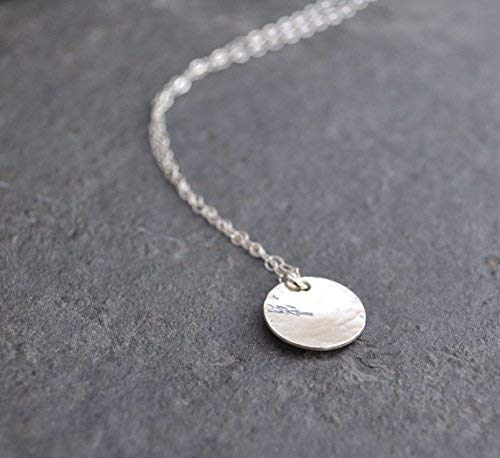 Disc Necklace Hammered Sterling Silver 18 inch chain length ()