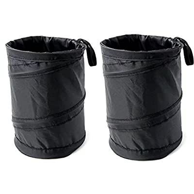 BeGrit 2-Pack Foldable Auto Garbage Bin Bag Car Dust Bin Storage Bucket Trash Can Container