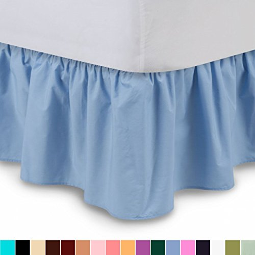 Shop Bedding Ruffled Bed Skirt (Twin XL, Blue) 14 Inch Drop Dust Ruffle with Platform, Wrinkle and Fade Resistant - by Harmony Lane (Available in all bed sizes and 16 colors) Linens Dust