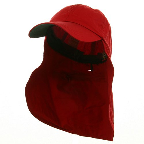 Whispering/Adams UV 45+ Zipper Flap Hats-Red OSFM