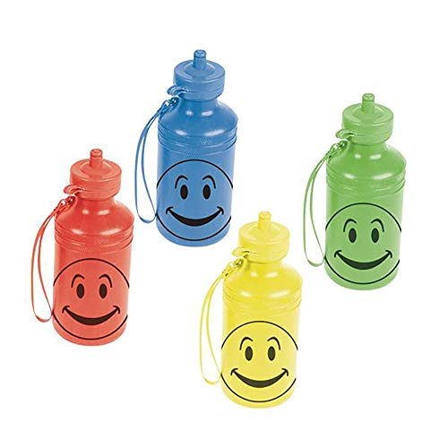 Kicko Smiley Face Water Bottle - 7.5 Inch 18 oz Character Water Bottle, 12 Pc Sports Event, Party, Collections, Hiking Tool, Gift Ideas, Kids Refreshment Snack Tool]()